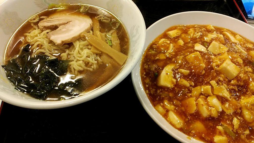 麻婆丼と醤油ラーメン